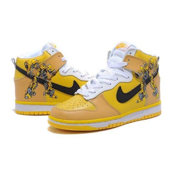 Cool Comic Dunks Bumblebee Yellow Nike SB Transformers Shoes via Polyvore