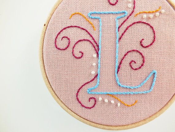 d1813006cfb This listing is for one letter hoop. ••• DETAILS ••• ♢ This swirls style  monogram is hand embroidered by me on a linen fabric. (You can choose your