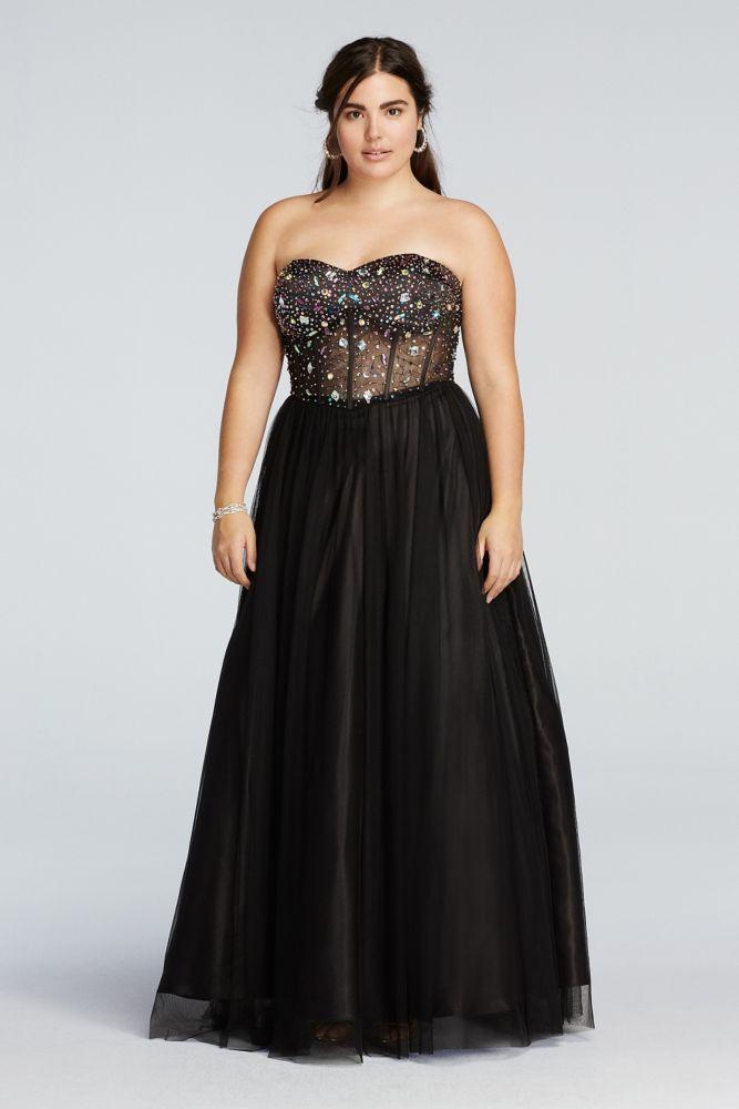 Plus Size Crystal Beaded Illusion Corset Prom Dress - Black / Multi ...