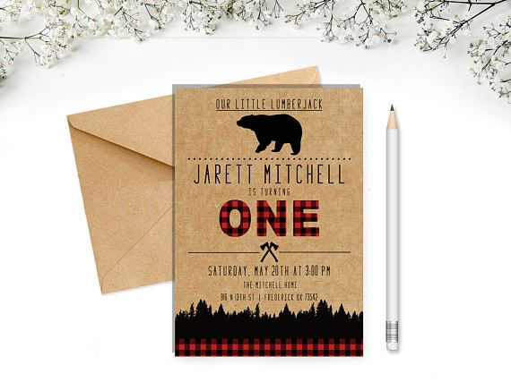 Lumberjack First Birthday Invitation Bear Wild One