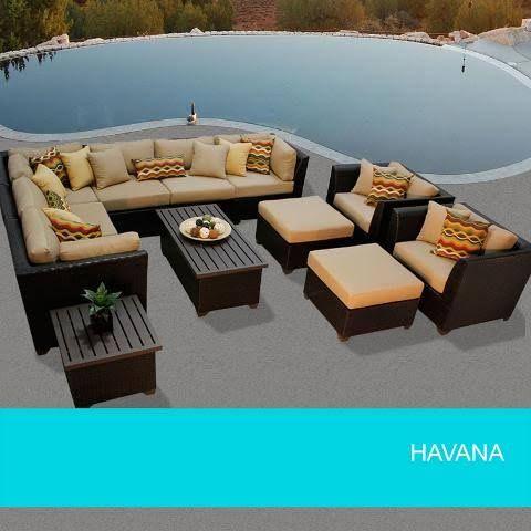 TKC Havana 12 Piece Outdoor Wicker Patio Furniture Set - Wheat