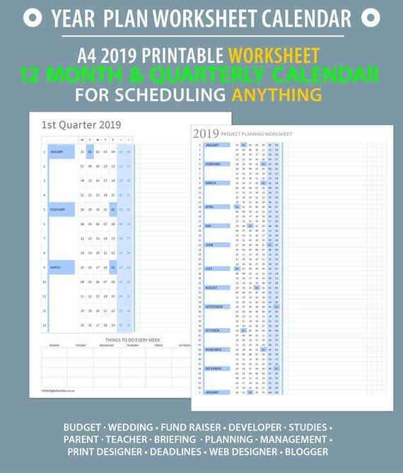 2019 Full year at a glance worksheet Printable timeline planning