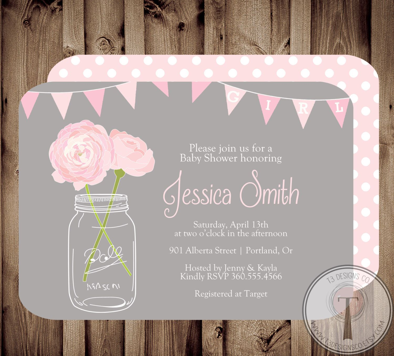 BABY GIRL Baby Shower Invitation, baby shower invite, mason jar baby ...