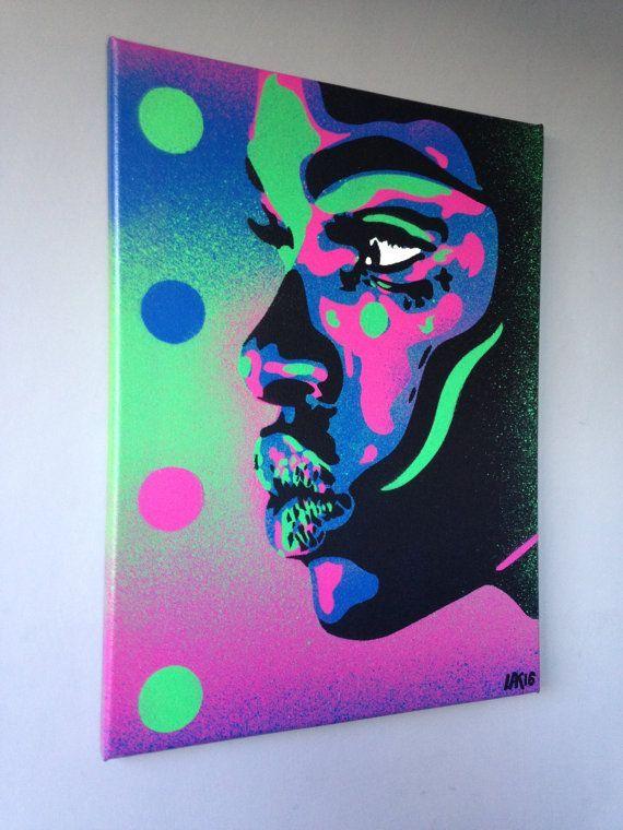 Items similar to African Woman face painting kiss 2 series stencil art spray paint art canvas beauty street art handmade urban graffiti home pop art modern on Etsy