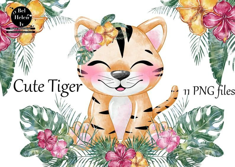 Cute Tiger Watercolor Clip Art Animals Watercolor Clipart Lovely Animals Children S Illustrations Tropical Animals African Animals In 2021 Watercolor Animals Holiday Artwork Drawings