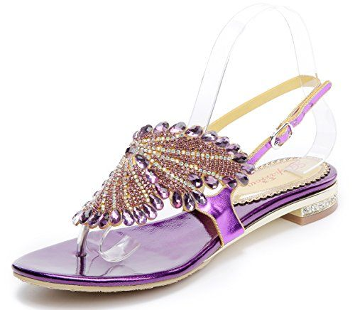8ce31e06691e Honeystore Womens Flat Sandals Butterfly Rhinestone Patern Slingback Thong  Sandals Purple 9 BM US     Click image to review more details.