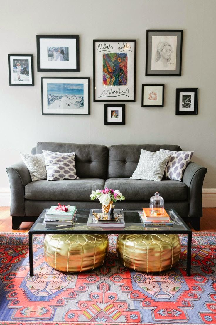 A simple gallery wall over a comfy