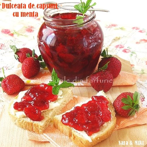 Fantastic strawberry jam with mint. Find more strawberry jam recipes at www.strawberry-recipes.com