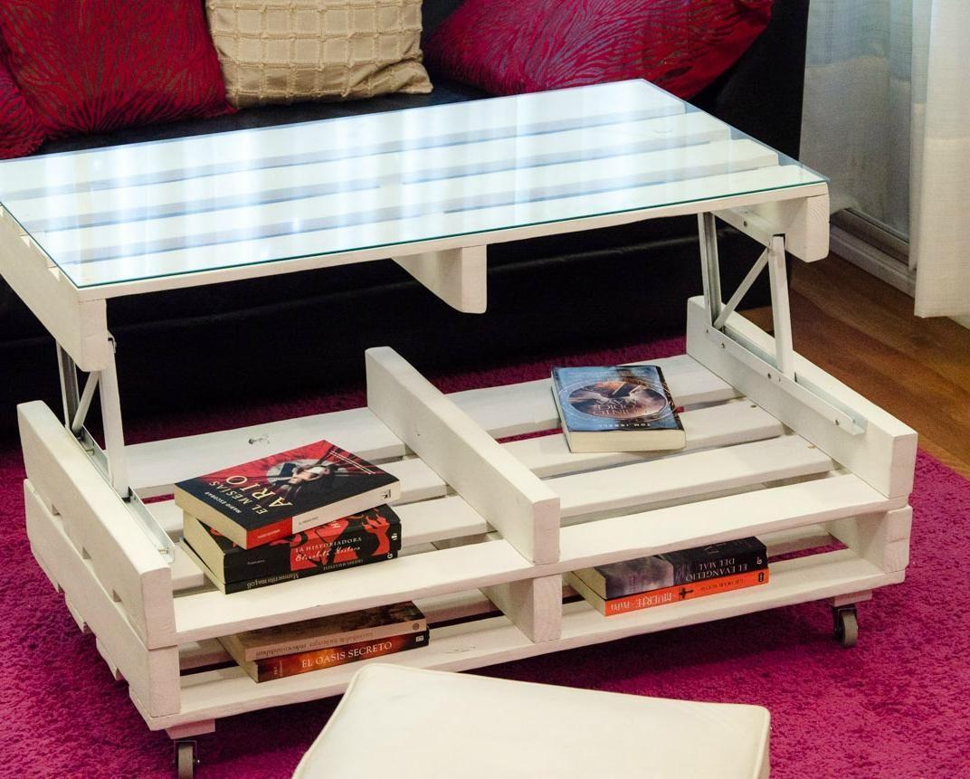 C mo hacer una mesa elevable con palets reciclando - Como hacer una mesa con palets ...