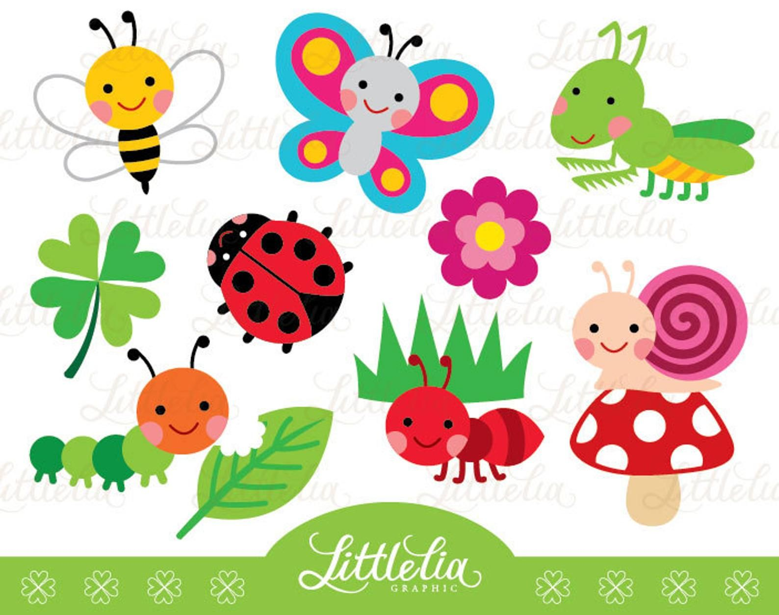 Garden Bug Cute Digital Clipart 14037 Instant Download Etsy Clip Art Digital Clip Art Mothers Day Crafts For Kids