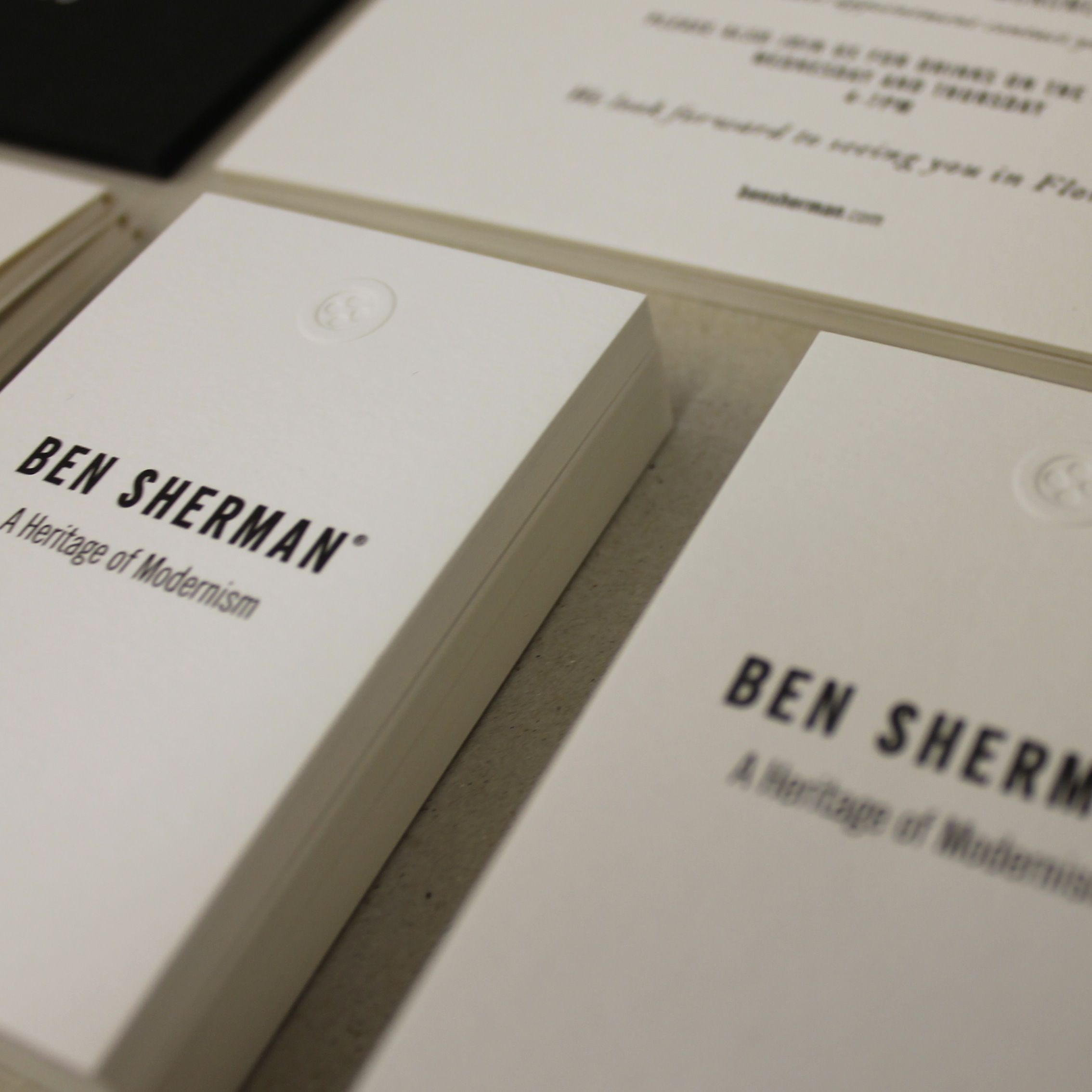 ben sherman embossed button business cards embossing