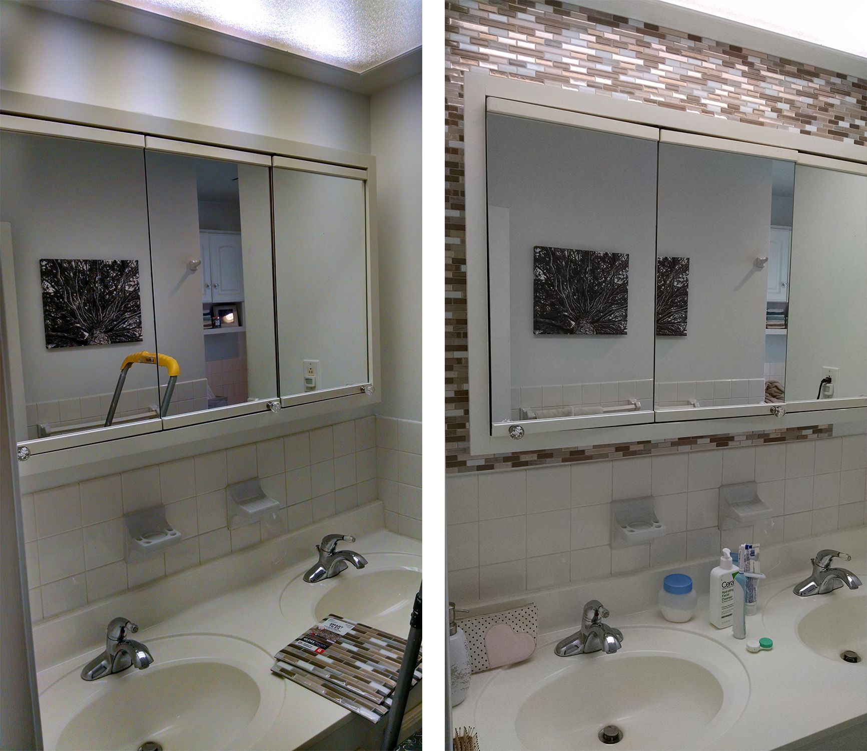 Muretto Durango Peel And Stick Tile Before And After Around Medicine Cab Bath Vanity Restroom Remodel Smart Tiles Tile Mirror Frame