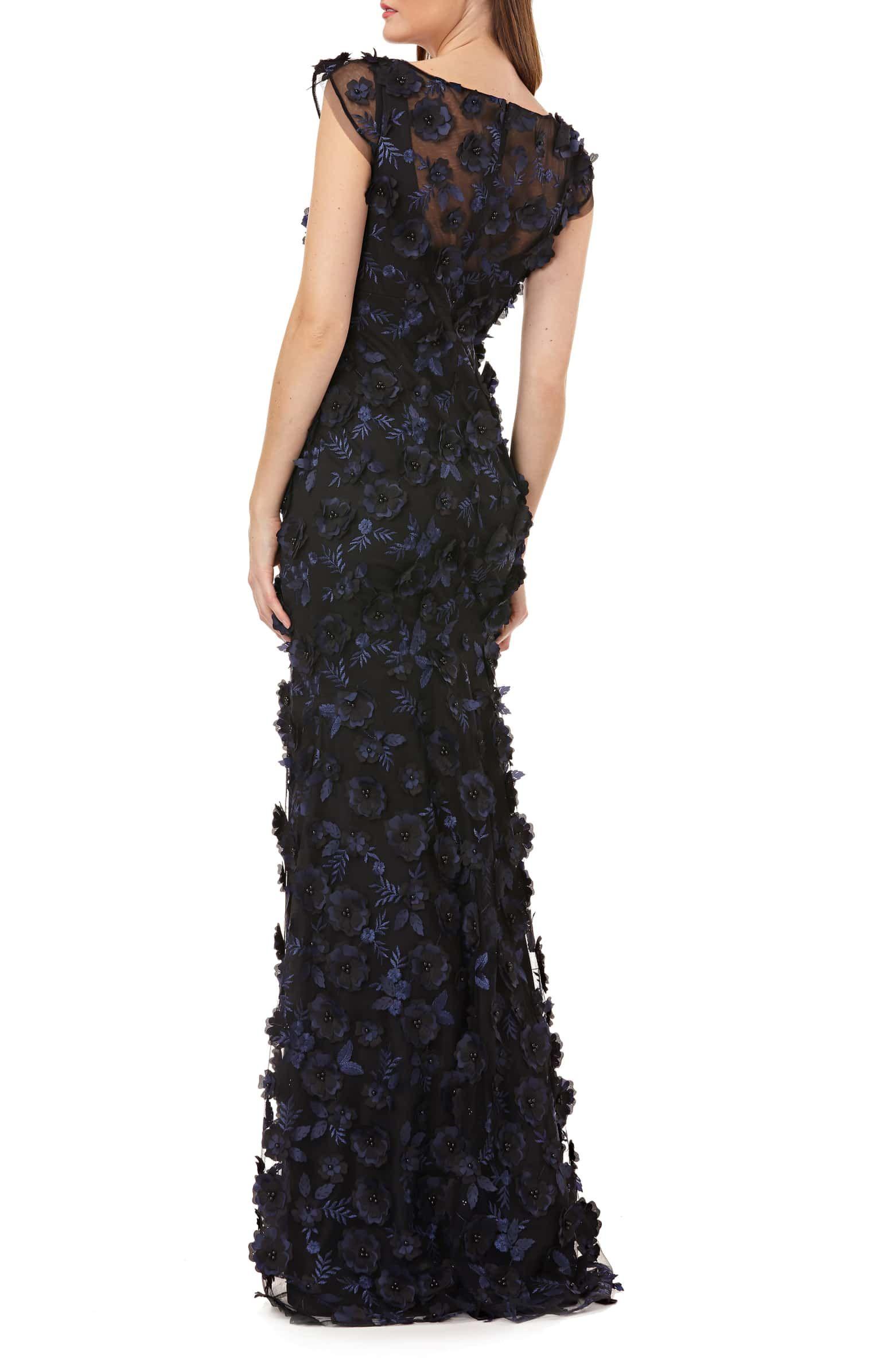 0f8e4d993d8ae 3-D Floral Evening Dress, Alternate, color, NAVY/ BLACK   Wedding ...
