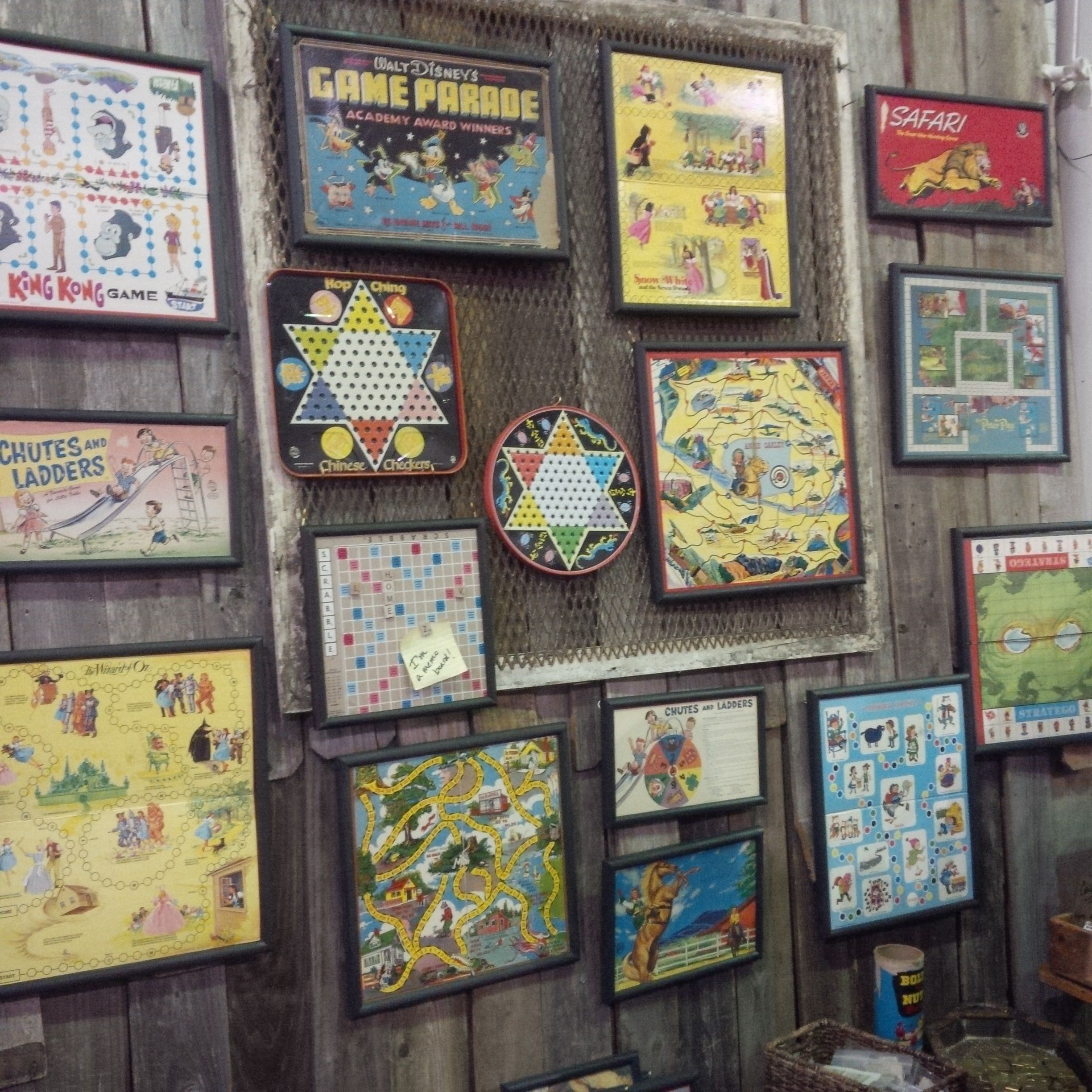 Vintage game boards! Framed & ready to hang. Would look great in a ...