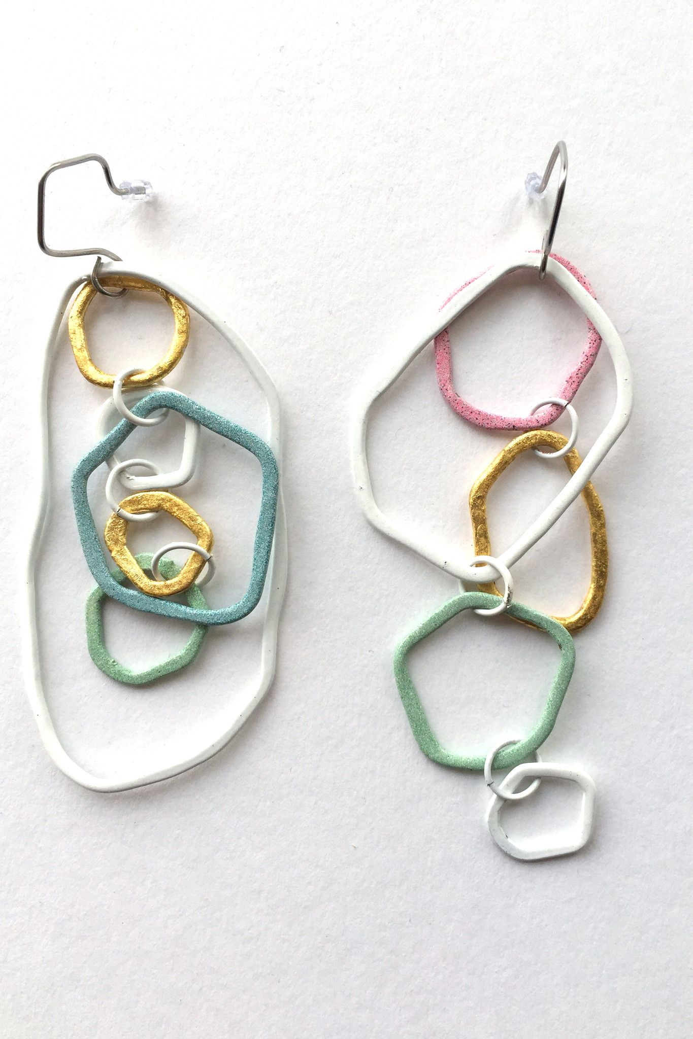 Studio Method(e) Multicoloured large dangly earrings | wire work ...