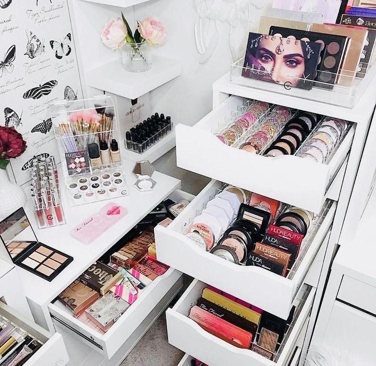 Pin By 𝘚𝘢𝘳𝘢𝘩 On Makeup Makeup Collection Storage Makeup Palette Storage Makeup Organization Vanity