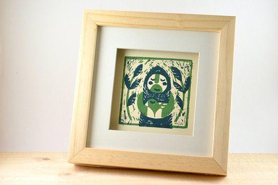 Square, original woodprint