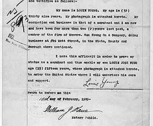 Affidavit of Louie Young Stating that He is the Father of Louie Jock Sung, and Deposition of Non Chinese Witnesses (Documents Were Executed in New York City)