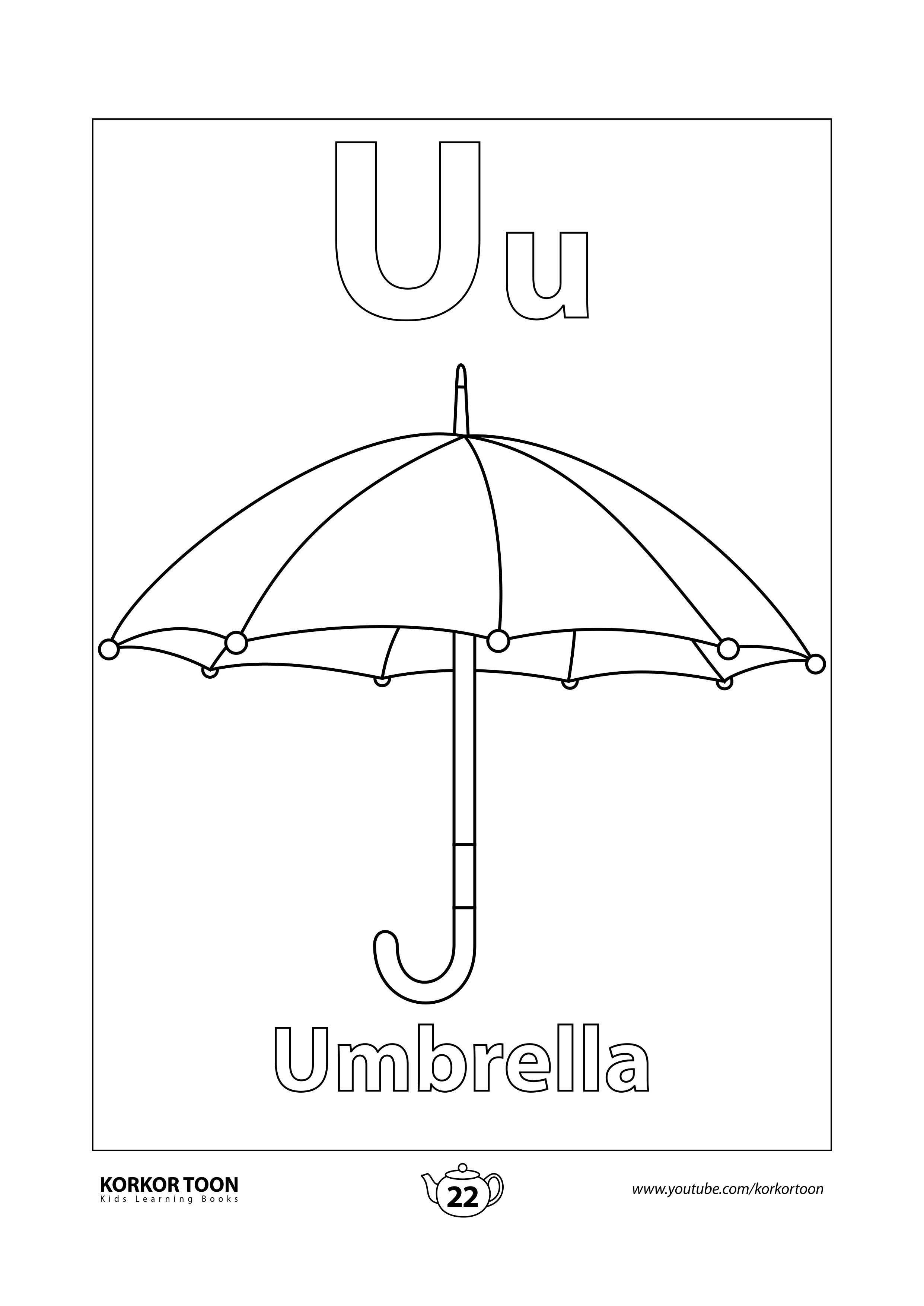 Umbrella Coloring Page Abc Coloring Book Coloring Books Abc Coloring Coloring Pages