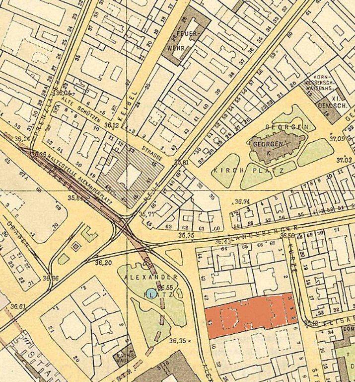 Alexanderplatz Und Umgebung Straubeplan Von 1910 Rot Markiert Lehrervereinhaus Alexanderstrasse 41 Berlin Geschichte Alte Bilder Berlin