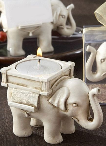 Ivory Elephant Resin Candlestick Wedding Favors Wedding