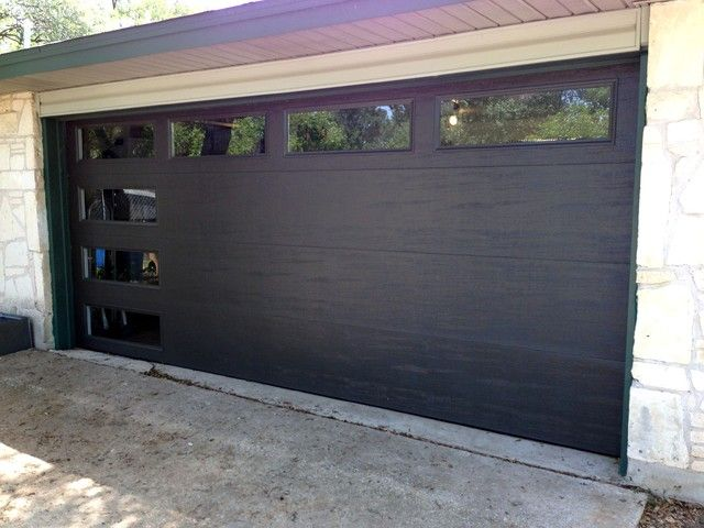 black contemporary flush insulated door with windows Doors