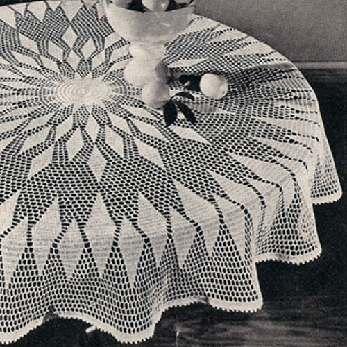 Big Round Puritan Crocheted Tablecloth Pattern 62 Inches Crochet