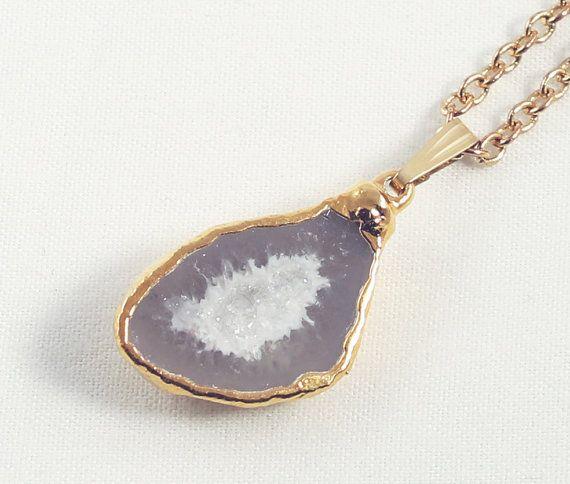 Agate Half Geode Druzy Pendant Necklace by elizabethlydonstudio