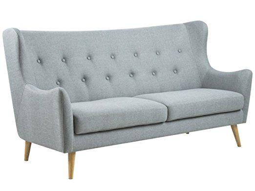 sofa stoffcouch couch dreisitzer kuchensofa retro grau kaoma i 3 sitzer