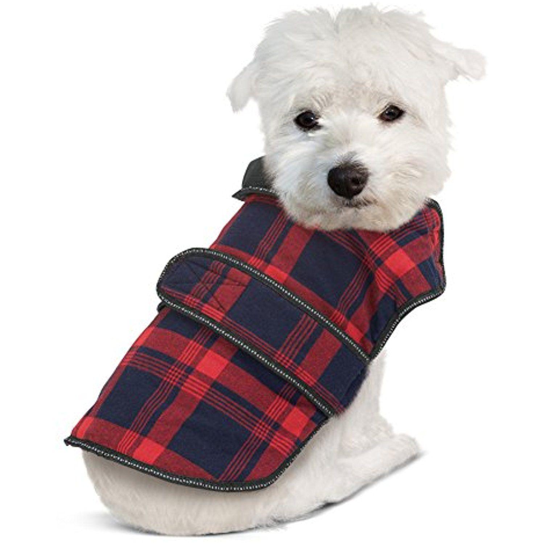 d1b1781f7d Plaid Dog Coat Jacket w  Easy Touch Close Straps