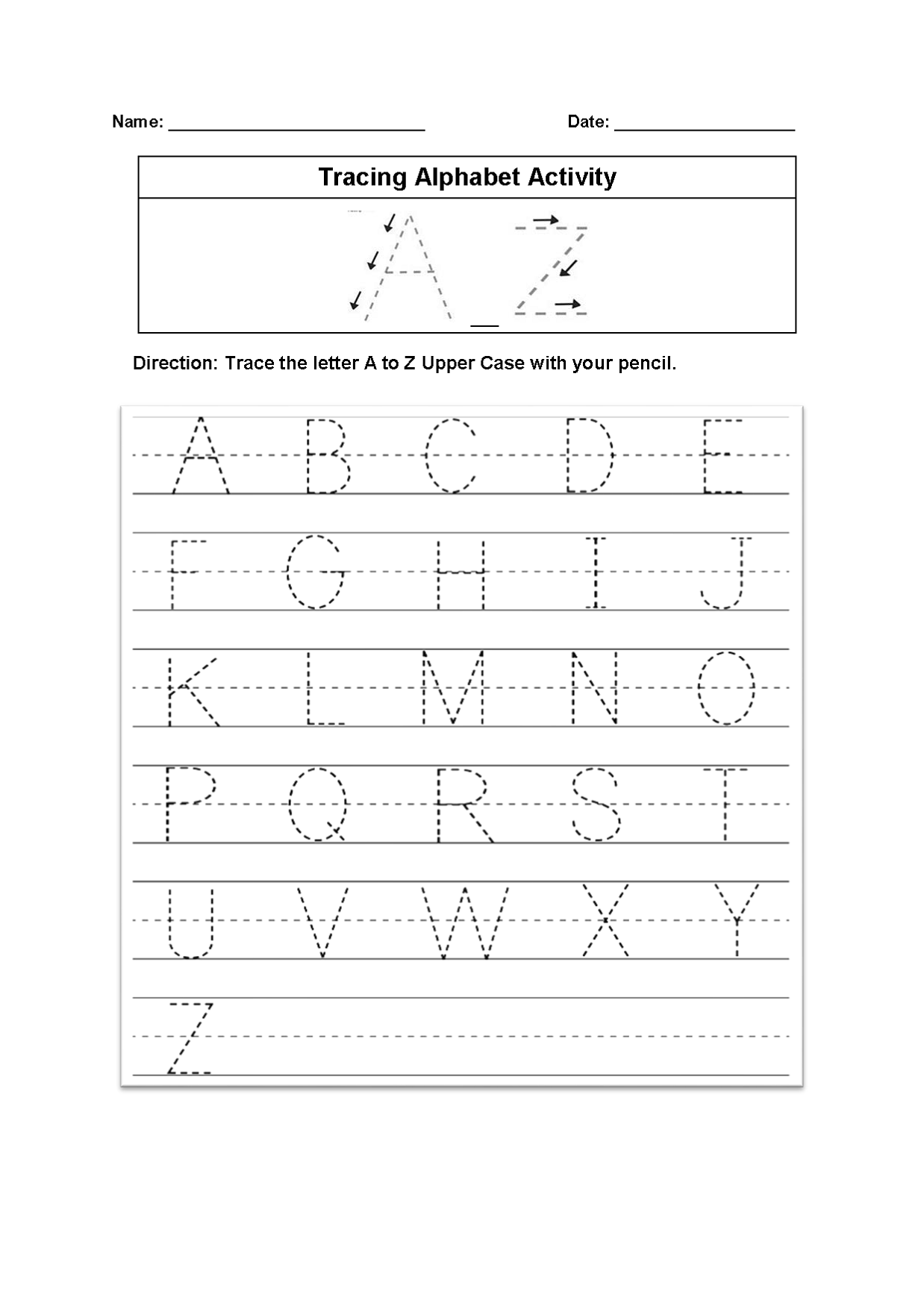 Tracing Alphabet Worksheets In