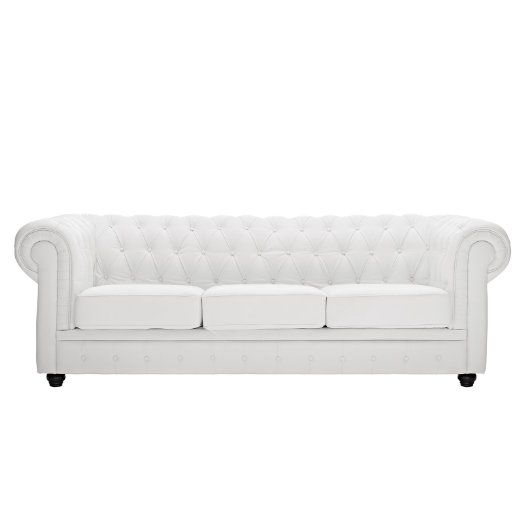 Amazon Com Lexmod Chesterfield Sofa In White Leather And Leather Match Tufted Leather White Tufted Leather Sofa Chesterfield Sofa Genuine Leather Sofa