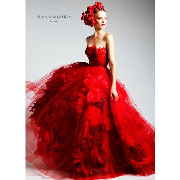 Irina Shabayeva Red Couture Feather Bouquet Ball Gown ($14,995 ...