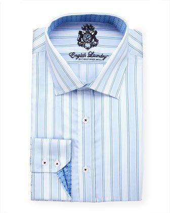 English Laundry Striped Dress Shirt Blue Shirt Dress Striped Dress Formal Shirts