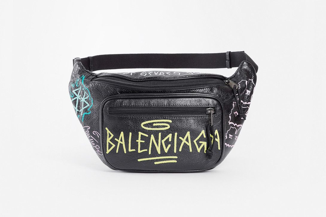 1db27259024b Balenciaga Fall Winter 2018 Graffiti Fanny Pack black leather accessories  release info demna gvasalia