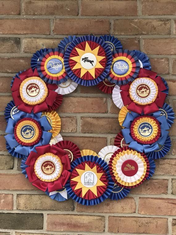 Photo of Custom Horse Show Ribbon Wreath – 18″ Wreath