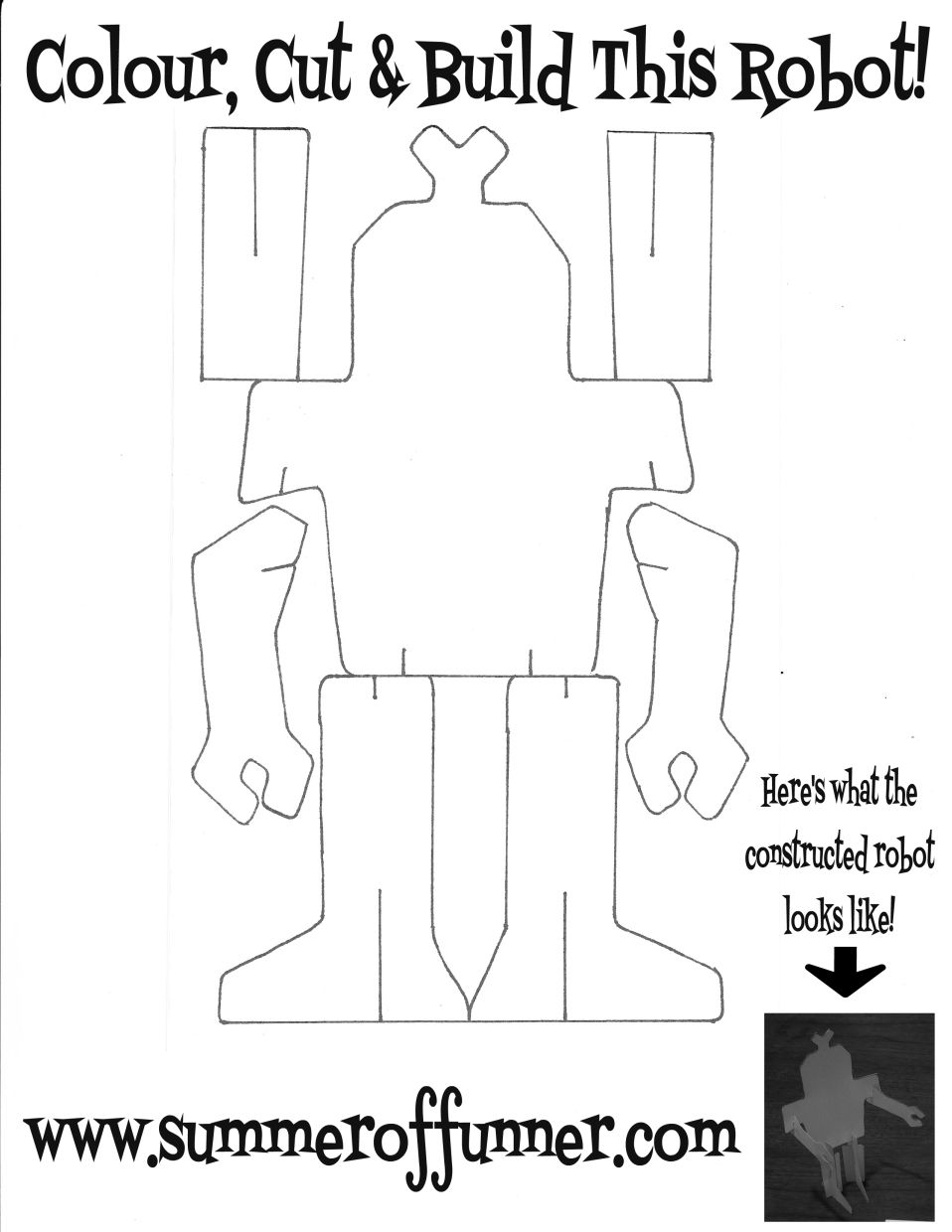 colour cut and build this robot free printable robot template from