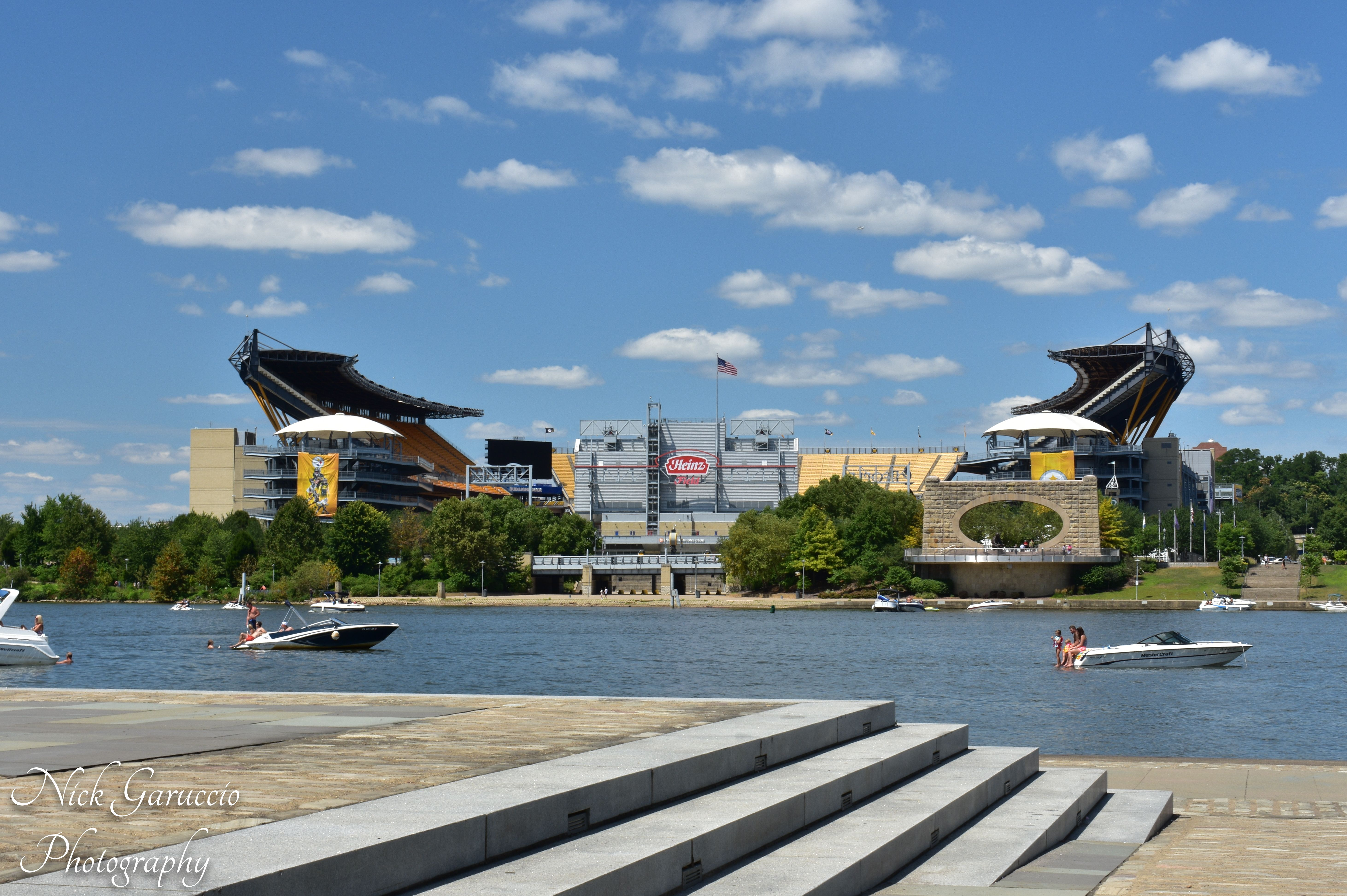 View of Heinz Field on a Blue Sky Day from the Point