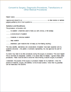 Diagnostic Procedures Consent Form Download At HttpWww