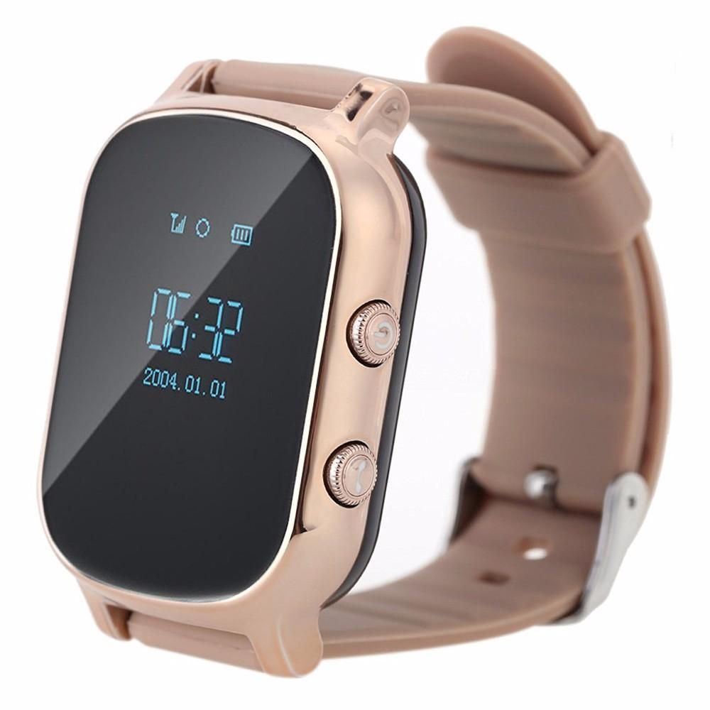 T58 Kids Elderly Phone Call SOS Positioning Location GPS Tracker Smart Watch For Iphone 7 Android Phone - Gold