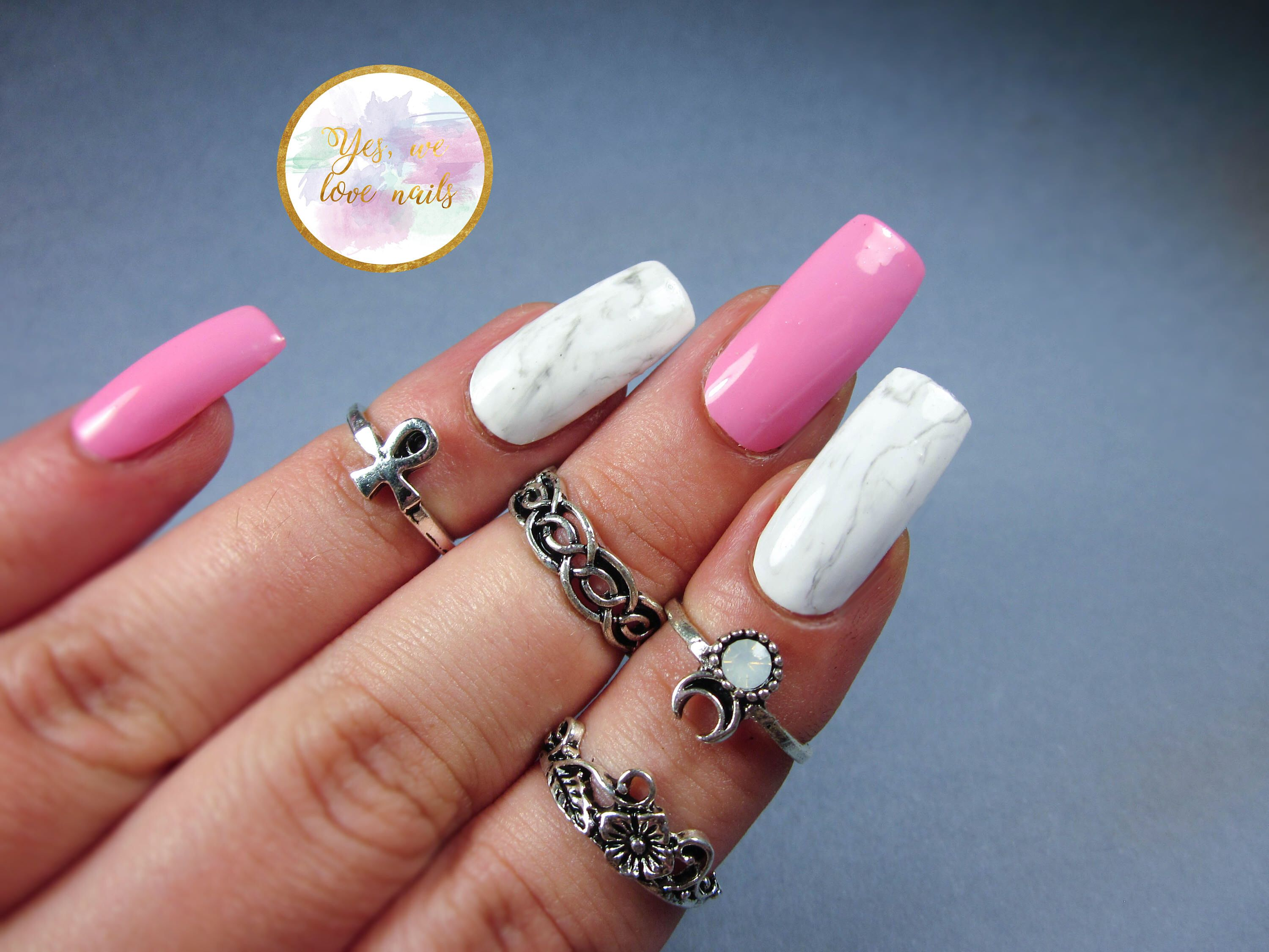 Press On Nails , Glue On Nails, Stiletto Nails, Pink Nails, Marble ...