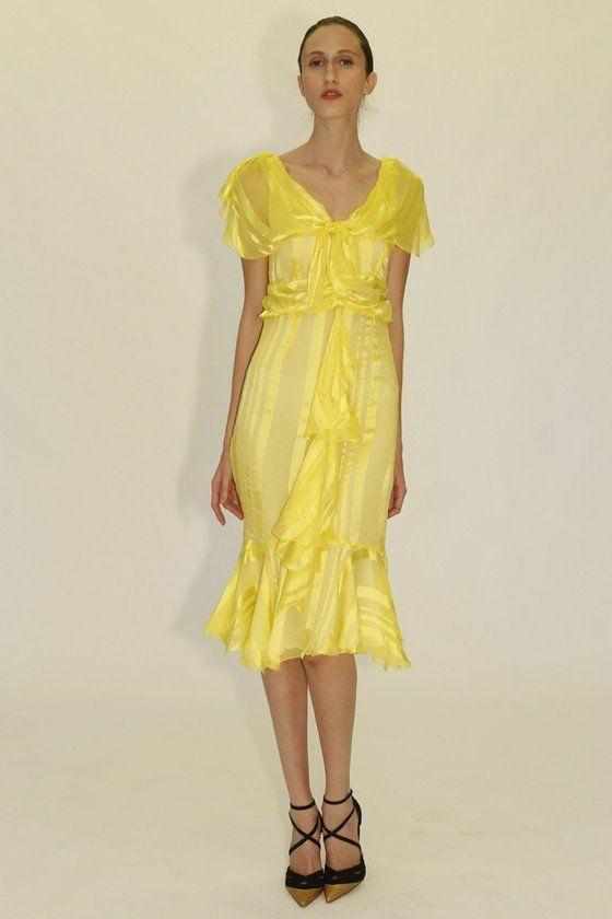 citrus yellow Dresses for Spring 2013 | Yellow Midi Dress From Zac Zac Posen's Spring 2014 Collection