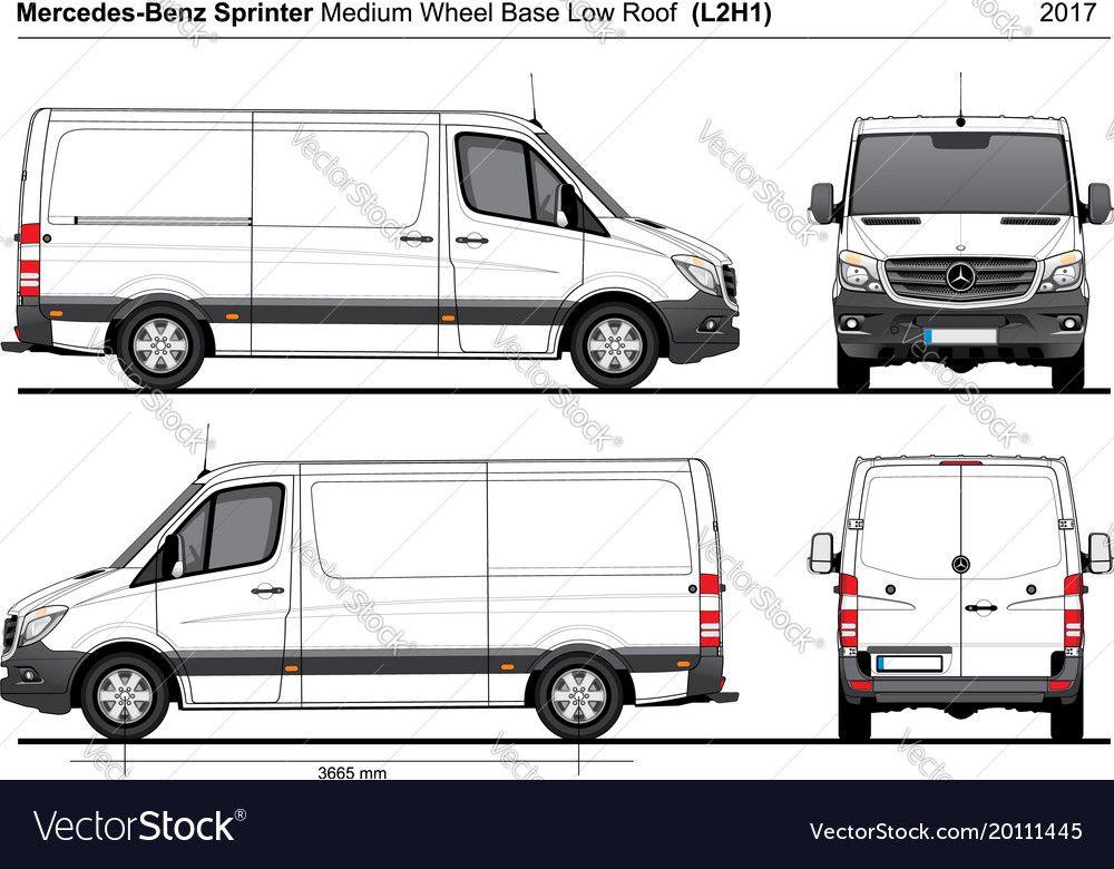 Mercedes Sprinter Mwb Low Roof Van L2h1 2017 Vector Image On Vectorstock Mercedes Sprinter Van Sprinter