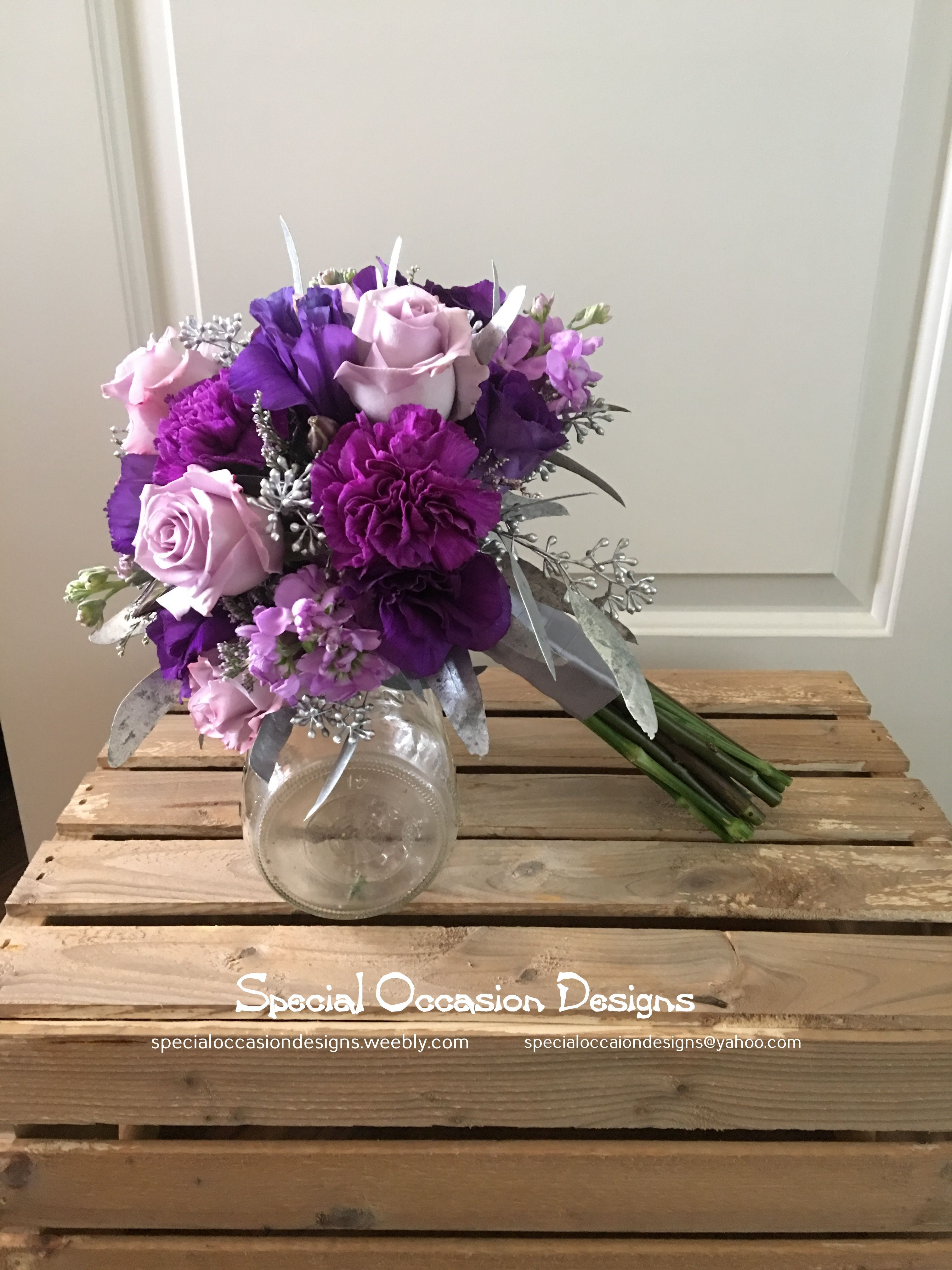 Purple And Silver Bridal Bouquet Roses Carnations Lisanthus