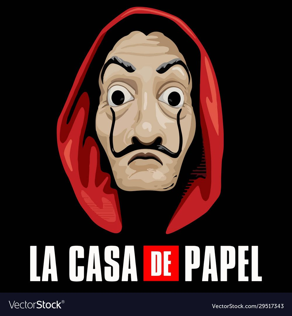 La Casa De Papel Vector Image In 2020 Mask Drawing Space Phone Wallpaper Greys Anatomy Gifts