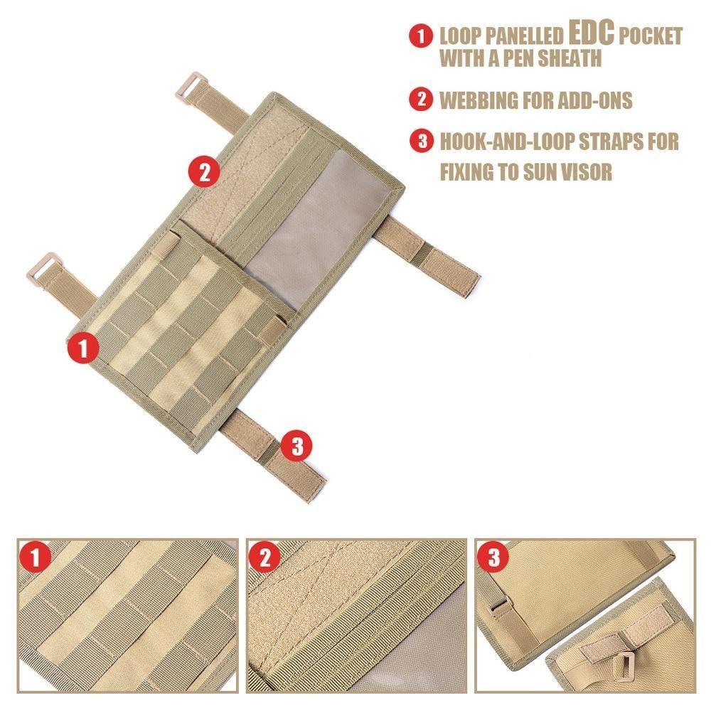 Tactical Molle Vehicle Visor Panel Visor Bag Storage Car Storage Bag