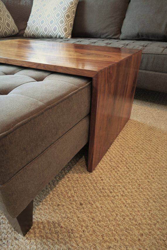 Waterfall Wood Coffee Table Ottoman Coffee Table Ottoman Tray