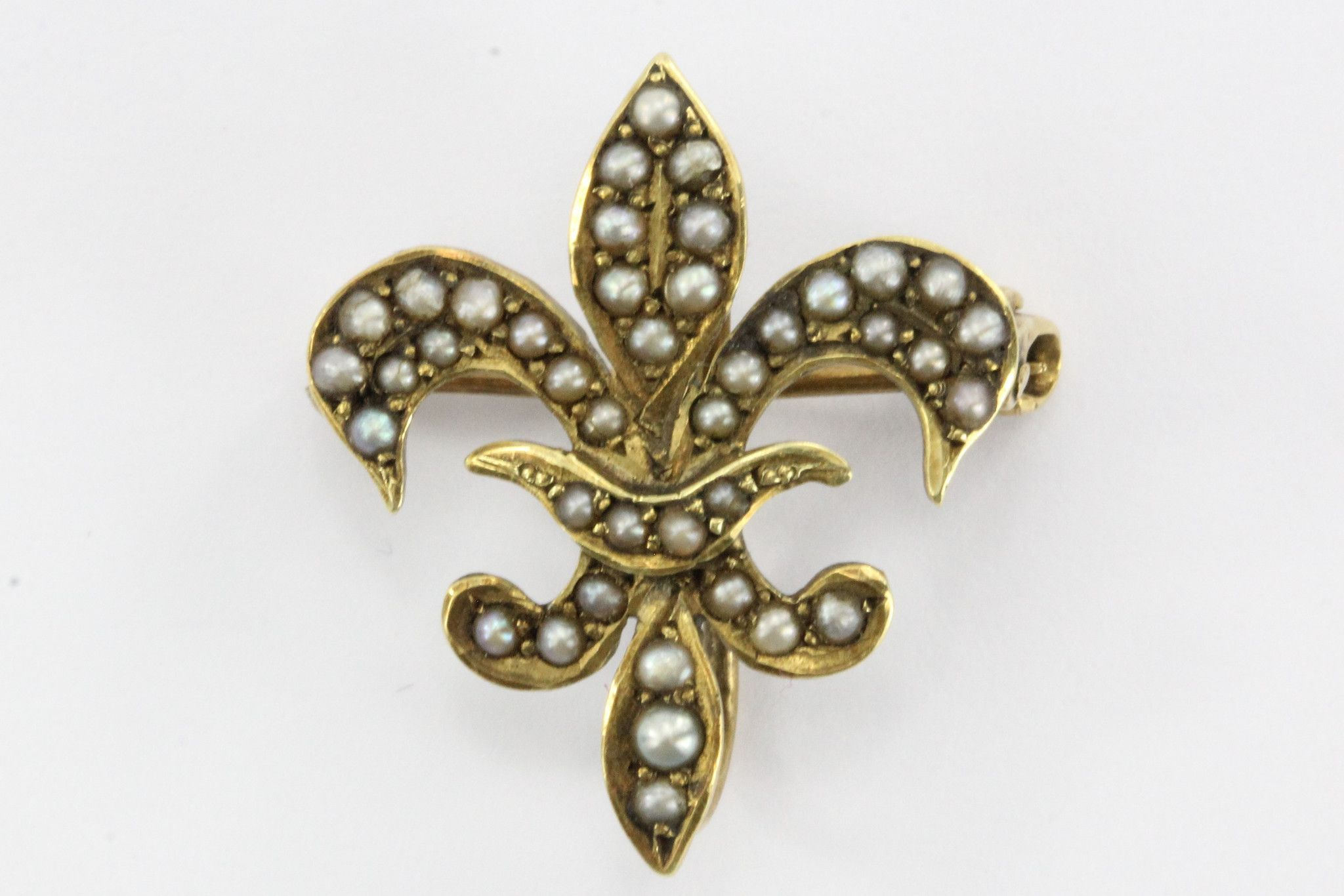 Antique k gold u seed pearl fleur de lis pin by ehrlich u sinnock