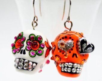 Items similar to Skull in a-day is the day of the dead earrings stone ES0018 on Etsy