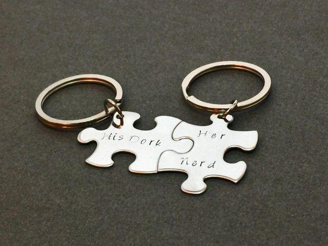 His Dork Her Nerd Keychains Couples Keychain Boyfriend Gift Girlfriend Anniversary Valentines Puzzle KeychainsGift Idea